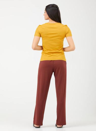 Sementa V Yaka Kadın Basic T.Shirt - Hardal Hardal